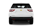Straight rear view of a 2018 Chevrolet Traverse LS 5 Door SUV stock images