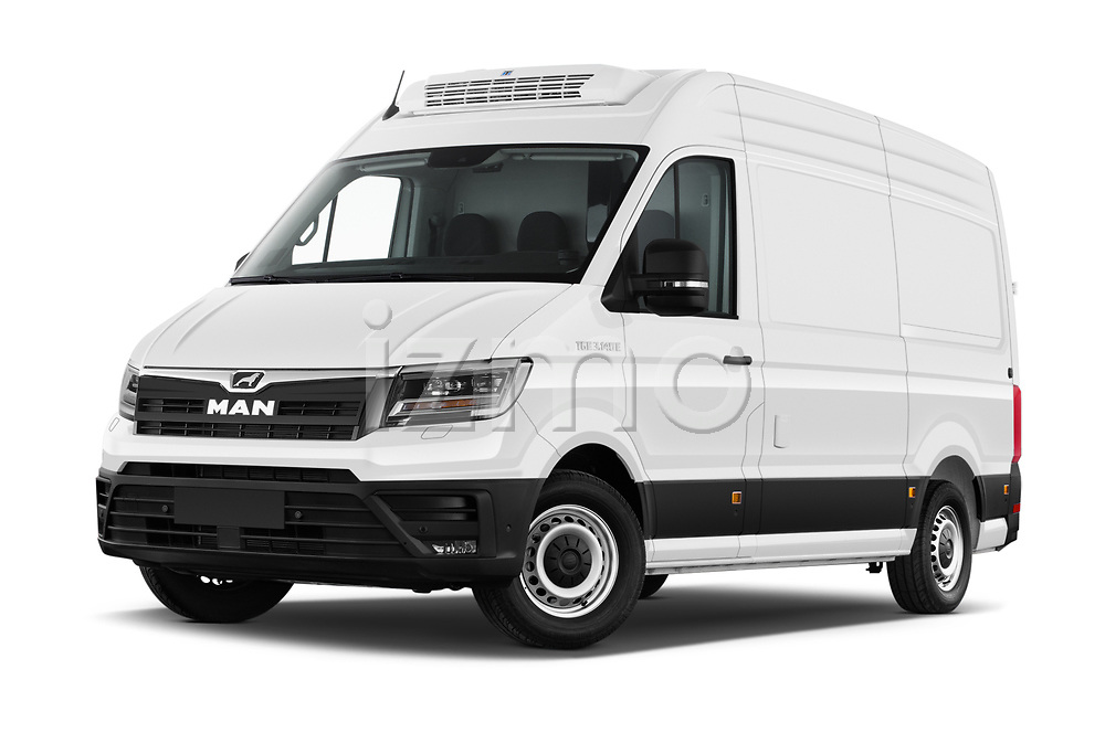 Stock pictures of low aggressive front three quarter view of 2020 Man TGE - 4 Door Refrigerated Van Low Aggressive