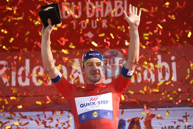 Elia Viviani (ITA) Quick-Step Floors wins Stage 2 and takes over the race leaders Red Jersey of the 2018 Abu Dhabi Tour, Yas Island Stage running 154km from Yas Mall to Yas Beach, Abu Dhabi, United Arab Emirates. 22nd February 2018.<br /> Picture: LaPresse/Fabio Ferrari   Cyclefile<br /> <br /> <br /> All photos usage must carry mandatory copyright credit (© Cyclefile   LaPresse/Fabio Ferrari)