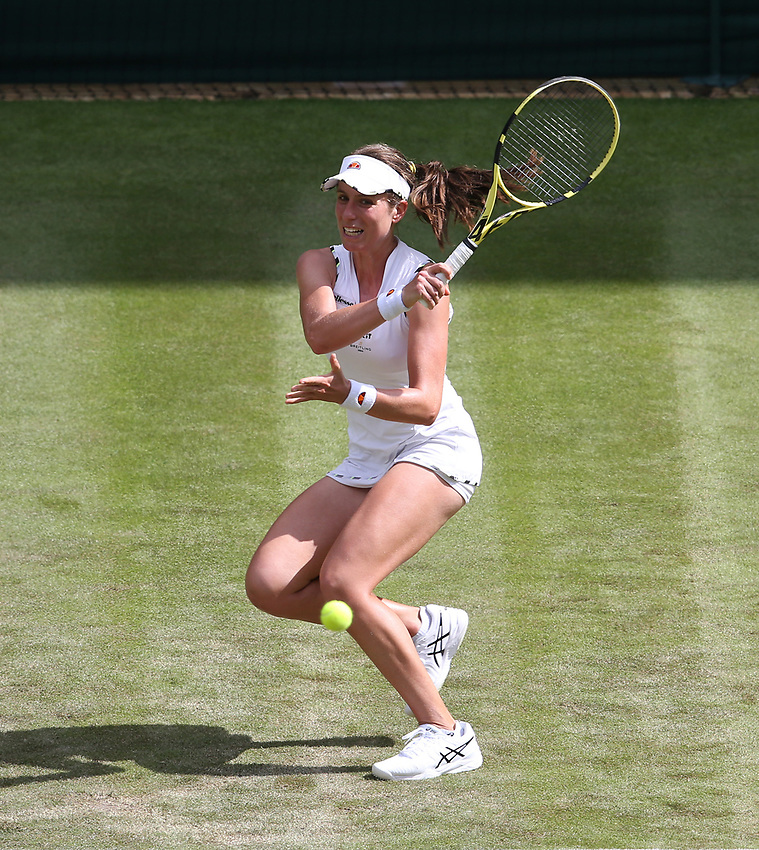 Johanna Konta (GBR) during her match against Ana Bogdan (ROU) in their Ladies' Singles First Round match<br /> <br /> Photographer Rob Newell/CameraSport<br /> <br /> Wimbledon Lawn Tennis Championships - Day 2 - Tuesday 2nd July 2019 -  All England Lawn Tennis and Croquet Club - Wimbledon - London - England<br /> <br /> World Copyright © 2019 CameraSport. All rights reserved. 43 Linden Ave. Countesthorpe. Leicester. England. LE8 5PG - Tel: +44 (0) 116 277 4147 - admin@camerasport.com - www.camerasport.com