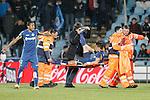 Getafe's Emiliano Velazquez injured in presence of Alvaro Pereira (l) during La Liga match. March 18,2016. (ALTERPHOTOS/Acero)