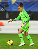20200304 Valenciennes , France : Brazilian goalkeeper Aline Reis (12)  pictured during the female football game between the national teams of The Netherlands and Brasil on the first matchday of the Tournoi de France 2020 , a prestigious friendly womensoccer tournament in Northern France , on wednesday 4 th March 2020 in the Stade du Hainaut of Valenciennes , France . PHOTO SPORTPIX.BE | DIRK VUYLSTEKE