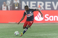 FOXBOROUGH, MA - SEPTEMBER 02: Cristian Penilla #70 of New England Revolution passes the ball during a game between New York City FC and New England Revolution at Gillette Stadium on September 02, 2020 in Foxborough, Massachusetts.