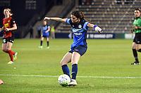 Kansas City, Kansas - Saturday April 16, 2016: FC Kansas City midfielder Erika Tymrak (15) kicks the ball against Western New York Flash at Children's Mercy Park. Western New York won 1-0.
