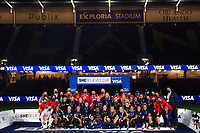 ORLANDO CITY, FL - FEBRUARY 24: USWNT celebrate the She Believes Cup during a game between Argentina and USWNT at Exploria Stadium on February 24, 2021 in Orlando City, Florida.