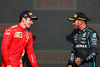 podium LECLERC Charles (mco), Scuderia Ferrari SF21, HAMILTON Lewis (gbr), Mercedes AMG F1 GP W12 E Performance, portrait during the Formula 1 Pirelli British Grand Prix 2021, 10th round of the 2021 FIA Formula One World Championship from July 16 to 18, 2021 on the Silverstone Circuit, in Silverstone, United Kingdom - <br /> Formula 1 GP Great Britain Silverstone 18/07/2021<br /> Photo DPPI/Panoramic/Insidefoto <br /> ITALY ONLY