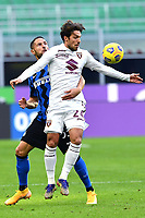 Danilo D'Ambrosio of FC Internazionale and Karol Linetty of Torino FC compete for the ball during the Serie A football match between FC Internazionale and Torino FC at stadio San Siro in Milano (Italy), November 22th, 2020. Photo Image Sport / Insidefoto