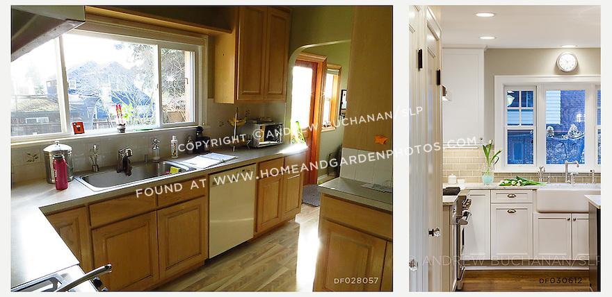 A kitchen is transformed with crisp white cabinetry, dark hardwood floors, and a subtle green tile backsplash.