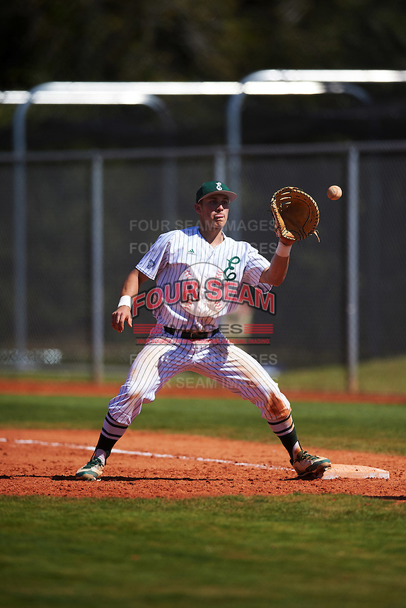 Eastern Michigan Eagles first baseman Zachary Owings (24) waits for a throw during a game against the Dartmouth Big Green on February 25, 2017 at North Charlotte Regional Park in Port Charlotte, Florida.  Dartmouth defeated Eastern Michigan 8-4.  (Mike Janes/Four Seam Images)
