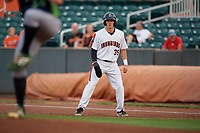 Aberdeen IronBirds Adley Rutschman (35) leads off during a NY-Penn League game against the Vermont Lake Monsters on August 19, 2019 at Leidos Field at Ripken Stadium in Aberdeen, Maryland.  Aberdeen defeated Vermont 6-2.  (Mike Janes/Four Seam Images)