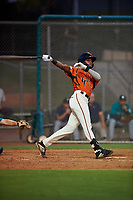 AZL Giants Orange Javeyan Williams (34) at bat during an Arizona League game against the AZL Mariners on July 18, 2019 at the Giants Baseball Complex in Scottsdale, Arizona. The AZL Giants Orange defeated the AZL Mariners 7-4. (Zachary Lucy/Four Seam Images)