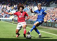 28th August 2021; Cardiff City Stadium, Cardiff, Wales;  EFL Championship football, Cardiff versus Bristol City; Han-Noah Massengo of Bristol City blocks Joel Bagan of Cardiff City in a wide position