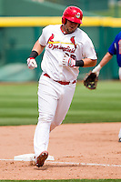 Matthew Adams (25) of the Springfield Cardinals rounds third base after Alex Castellanos (18) hit his first of two home runs during a game against the Midland RockHounds on April 19, 2011 at Hammons Field in Springfield, Missouri.  Photo By David Welker/Four Seam Images