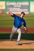 Dunedin Blue Jays pitcher Nick Frasso (26) delivers a pitch during a game against the Clearwater Threshers on May 20, 2021 at BayCare Ballpark in Clearwater, Florida.  (Mike Janes/Four Seam Images)