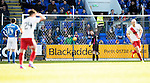 St Johnstone v Kilmarnock…25.02.17     SPFL    McDiarmid Park<br />Zander Clark picks the ball out of the back of the net after he was lobbed by Rory McKenzie for Killie's first goal<br />Picture by Graeme Hart.<br />Copyright Perthshire Picture Agency<br />Tel: 01738 623350  Mobile: 07990 594431