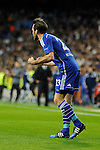 FC Shalke 04´s Christian Fuchs celebrate a goal during 2014-15 Champions League match between Real Madrid and FC Shalke 04 at Santiago Bernabeu stadium in Madrid, Spain. March 10, 2015. (ALTERPHOTOS/Luis Fernandez)