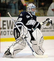 "5 January 2007: University of New Hampshire goaltender Brian Foster (29) from Pembroke, NH, warms up prior to a game against the University of Vermont Catamounts at Gutterson Fieldhouse in Burlington, Vermont. The UNH Wildcats defeated Vermont 7-1 in front of a record setting 48th consecutive sellout at ""the Gut""...Mandatory Photo Credit: Ed Wolfstein Photo.<br />"