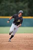 Pittsburgh Pirates Bligh Madris (13) runs the bases during an Instructional League intrasquad black and gold game on October 3, 2017 at Pirate City in Bradenton, Florida.  (Mike Janes/Four Seam Images)