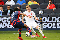 KANSAS CITY, KS - JULY 18: Tyler Pasher #3 of Canada during a game between Canada and USMNT at Children's Mercy Park on July 18, 2021 in Kansas City, Kansas.