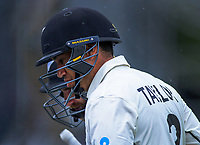 NZ's Ross Taylor and Kane Williamson walk off after rain halted play during day five of the international cricket 2nd test match between NZ Black Caps and England at Seddon Park in Hamilton, New Zealand on Tuesday, 3 December 2019. Photo: Dave Lintott / lintottphoto.co.nz