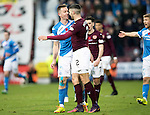 Hearts v St Johnstone…05.11.16  Tynecastle   SPFL<br />Steven Anderson and Callum Paterson square-up to each other<br />Picture by Graeme Hart.<br />Copyright Perthshire Picture Agency<br />Tel: 01738 623350  Mobile: 07990 594431