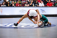STANFORD, CA - March 7, 2020: Jayden Carson of Little Rock and Benny Martinez of Cal Poly during the 2020 Pac-12 Wrestling Championships at Maples Pavilion.