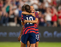AUSTIN, TX - JUNE 16: Christen Press #23 of the USWNT celebrates her goal with Carli Lloyd during a game between Nigeria and USWNT at Q2 Stadium on June 16, 2021 in Austin, Texas.