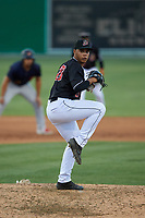 Batavia Muckdogs relief pitcher Jonaiker Villalobos (20) during a NY-Penn League game against the State College Spikes on July 1, 2019 at Dwyer Stadium in Batavia, New York.  Batavia defeated State College 5-4.  (Mike Janes/Four Seam Images)