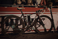 Gianni Vermeersch' (BEL/Sunweb-Napoleon Games)<br /> bike with screwed up derailleur managed to be pushed over the finish line (in 15th place)<br /> <br /> Superprestige Diegem 2015