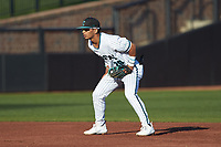 Coastal Carolina Chanticleers shortstop Eric Brown (20) on defense against the Davidson Wildcats at Springs Brooks Stadium on March 5, 2021 in Conway, South Carolina. The Chanticleers defeated the Wildcats 15-5. (Brian Westerholt/Four Seam Images)