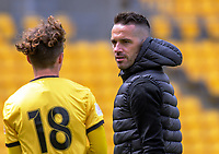 Phoenix coach Paul Temple talks to Owen Smith during the ISPS Handa Premiership football match between Wellington Phoenix Reserves and Southern United at Sky Stadium in Wellington, New Zealand on Saturday, 11 January 2020. Photo: Dave Lintott / lintottphoto.co.nz