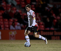 Patrick Mullins (15) of Maryland brings the ball upfield during the ACC tournament quarterfinals at Ludwig Field in College Park, MD.  Maryland defeated Boston College, 2-0.