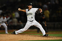 Relief pitcher Matt Blackham (6) of the Columbia Fireflies delivers a pitch in a game against the Lexington Legends on Saturday, April 22, 2017, at Spirit Communications Park in Columbia, South Carolina. Lexington won, 4-0. (Tom Priddy/Four Seam Images)