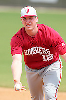 Indiana Hoosiers Trace Knoblauch #18 during a game vs UMass at Lake Myrtle Main Field in Auburndale, Florida;  March 16, 2011.  Indiana defeated UMass 11-10.  Photo By Mike Janes/Four Seam Images