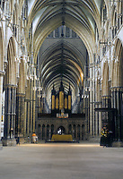 "Lincoln: Lincoln Cathedral--Vaulting over Nave, Crossing and Choir ahead. "" ..The..squat proportions are typical  of Eng. Arch. in the late 13th century"" ARCH. OF WESTERN WORLD, p. 43. Photo '90."