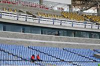 PEREIRA - COLOMBIA, 19-09-2020: Deportivo Pereira e Independiente Santa Fe en partido por la fecha 9 de la Liga BetPlay DIMAYOR I 2020 jugado en el estadio Hernán Ramírez Villegas de la ciudad de Pereira. / Deportivo Pereira and Independiente Santa Fe in match for the date 9 as part of BetPlay DIMAYOR League I 2020 played at Hernan Ramirez Villegas stadium in Pereira city.  Photo: VizzorImage/ Jonh Jairo Bonilla / Cont