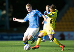 St Johnstone v St Mirren....04.10.14   SPFL<br /> Brian Easton tackles James Marwood<br /> Picture by Graeme Hart.<br /> Copyright Perthshire Picture Agency<br /> Tel: 01738 623350  Mobile: 07990 594431