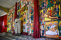ETHIOPIA , Bahar Dar, Lake Tana, Entos Eyesu Monastery, orthodox monastery on island, monk Abolde Gabriel / AETHIOPIEN, Bahir Dar, See Tana, Entos Eyesu Kloster, orthodoxe Klosterkirche auf einer kleinen Insel, Moench Abolde Gabriel