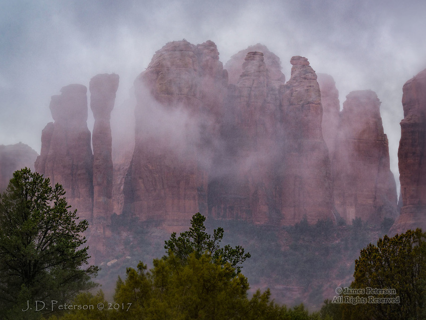 Winter Storm at Cathedral Rock ©2017 James D Peterson.  This iconic Sedona formation looks dramatic from just about any angle and in any weather.
