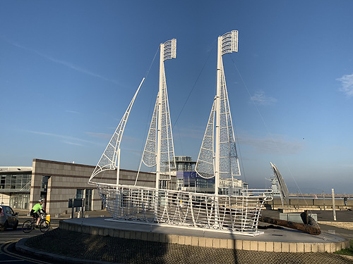 New arrival - the latest addition to Ireland's biggest leisure boat fleet is in fact a massive Christmas decoration located at the Dun Laoghaire Harbour roundabout