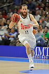 Real Madrid´s Sergio Rodriguez during 2014-15 Liga Endesa match between Real Madrid and Unicaja at Palacio de los Deportes stadium in Madrid, Spain. April 30, 2015. (ALTERPHOTOS/Luis Fernandez)