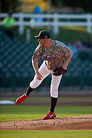 Inland Empire 66ers starting pitcher Blake Wood (46) follows through on his delivery in a rehab start during a California League game against the Lancaster JetHawks at San Manuel Stadium on May 19, 2018 in San Bernardino, California. Inland Empire defeated Lancaster 9-6. (Zachary Lucy/Four Seam Images)