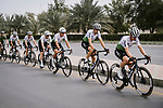 Team Dimension Data lined out during Stage 6 of the 10th Tour of Oman 2019, running 135.5km from Al Mouj Muscat to Matrah Corniche, Oman. 21st February 2019.<br /> Picture: ASO/P. Ballet | Cyclefile<br /> All photos usage must carry mandatory copyright credit (© Cyclefile | ASO/P. Ballet)