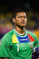 Ecuador goalkeeper Adrian Bone (1). Ecuador defeated Chile 3-0 during an international friendly at Citi Field in Flushing, NY, on August 15, 2012.