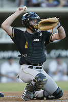 Chris Snyder of the Lancaster JetHawks during a California League 2002 season game against the Lake Elsinore Storm at The Diamond, in Lake Elsinore, California. (Larry Goren/Four Seam Images)