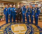 Nov. 1, 2013; President Emeritus Rev. Theodore Hesburgh, C.S.C. meets with the United States Navy Blue Angels.  The Blue Angels were on campus to perform a flyover for the Notre Dame-Navy football game.<br /> <br /> Photo by Matt Cashore/University of Notre Dame