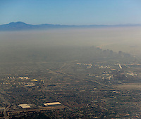 aerial photograph portions of Long Beach visible through a layer of pollution