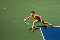 8th September 2021; New York, USA;  Belinda Bencic of Switzerland hits a return during for women s singles quarterfinals of the 2021 US Open against Emma Raducanu of the Great Britain in New York, the United States on Sept. 8, 2021. Photo by /Xinhua SPU.S.-NEW YORK-TENNIS-US OPEN-DAY 10-QUARTERFINAL-WOMEN S SINGLES MichaelxNagle