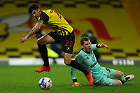 26th December 2020; Vicarage Road, Watford, Hertfordshire, England; English Football League Championship Football, Watford versus Norwich City; Stipe Perica of Watford takes the ball round Michael McGovern of Norwich City but fails to score