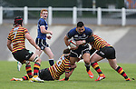 Quins pair Josh Lewis and Rhys Williams combine to stop Leinster centre Ben Te'o.<br /> British & Irish Cup<br /> Carmarthen Quins v Leinster A<br /> Carmarthen Park<br /> 25.10.14<br /> ©Steve Pope-SPORTINGWALES